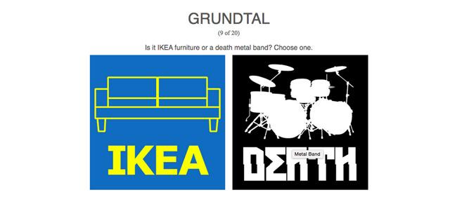 単語がIKEAの商品名かデスメタルバンド名かを当てるクイズサイト
