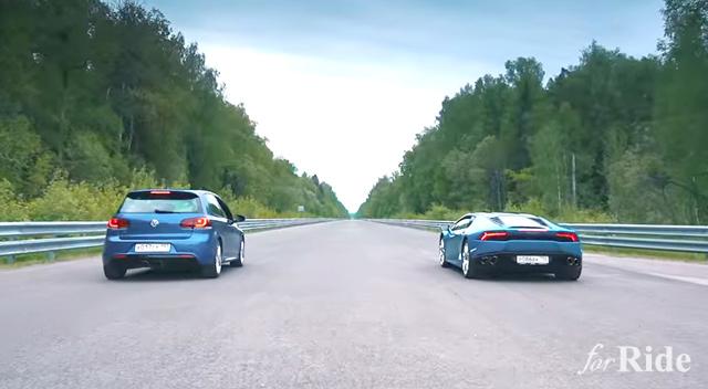 700馬力のワーゲン「ゴルフR改」vs ランボルギーニ「ウラカン」!
