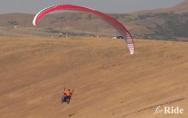 ハーレー・スポーツスターにパラグライダーをつけて飛んでみた!