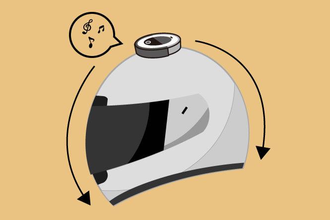 ヘルメット電動スピーカー