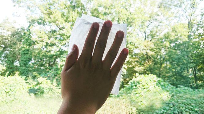 ガラスを拭く手