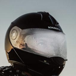 結露したヘルメット