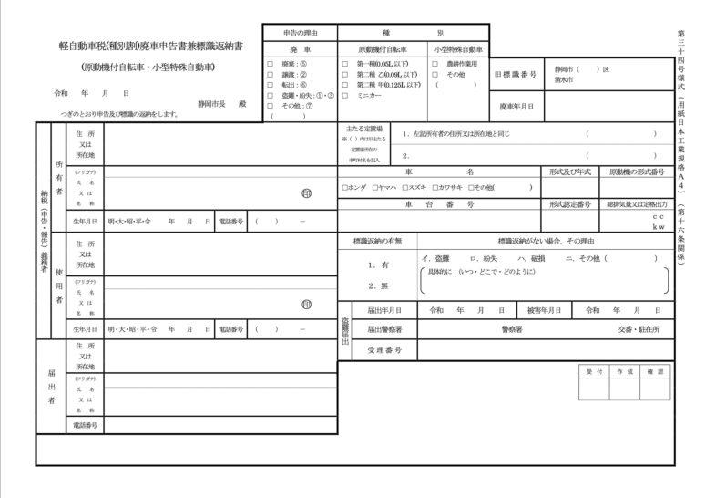 自動車税廃車申告書兼標識返納書